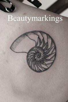 "beautymarkingsart: ""Delicate nautilus shell tattoo for Rebecca, her first! instagram @beautymarkings """