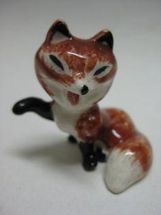 Fox Figurine Miniature Vintage Ceramic Red by briteblubooger, $6.50