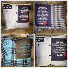Memory pillow from shirt, memorial pillow, grief pillow, loved ones clothing, keepsake pillow, handwriting, Christmas gift