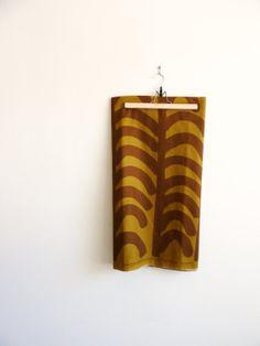 Marimekko fabric / abstract tribal rustic nature inspired / earth tones green olive brown    $43.00