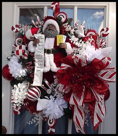 """""""Mr. Claus"""" Luxury Christmas Wreath for front door Gorgeous African American Santa Wreath loaded with festive peppermint themed decorations!This wreath measures approx: 30"""". FREE US SHIPPING on all Christmas wreaths!!"""