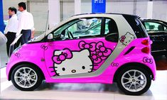 A Hello Kitty-themed Smart Car from Mercedes-Benz is on display at an auto show in Beijing Sunday. The show, open from Friday till Monday, has attracted 25 major carmakers including Mercedes-Benz and BMW. Hello Kitty Car, Hello Kitty Items, Smart Auto, Smart Car, Benz Smart, Hello Kitty Collection, Cute Cars, Fancy Cars, Cool Stuff