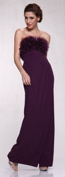 Purple Dress Slinky Strapless Chiffon Ruffle Formal Prom Gown $79.99
