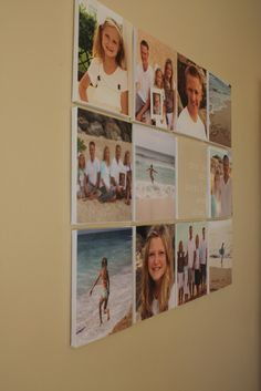 Picture wall. 8x10 pictures modge podged to art canvases.