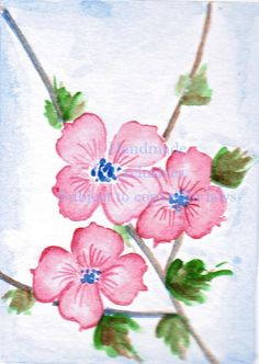 Dogwoods floral art Watercolor flowers by HandmadeExclusives, $7.00