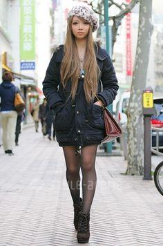 Casual, gyaru: Gray beret with leopard pattern. Gyaru Fashion, Harajuku Fashion, Kawaii Fashion, Cute Fashion, Fashion Looks, Japanese Street Fashion, Tokyo Fashion, Korean Fashion, Grunge