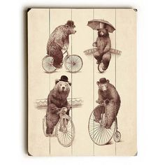 Bears On Bicycles by Artist Eric Fan Wood Sign