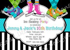 Ice skating birthday party invitation wording For Parties