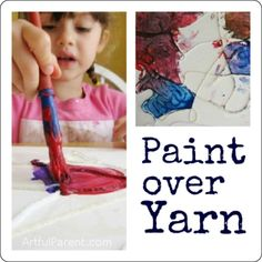Paint Over Yarn - Yarn, glue, bowl, sturdy paper, time to dry, paint, brushes. (line marking, boundaries and space)