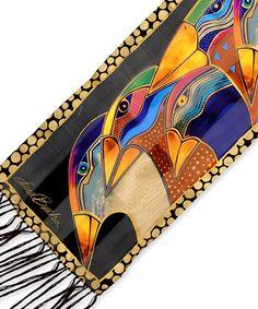 Another great find on #zulily! Yellow Sky Spirits Fringe Silk Scarf #zulilyfinds