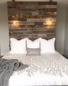 @stikwooddesign peel and stick wood headboard wall!