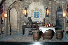 Wine Cellar 1:12 scale miniature roombox scene by J. Wright