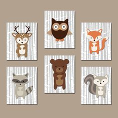 WOODLAND Nursery Wall Art Woodland Wall Art Artwork Birch Wood Forest Animal Deer Squirrel OWL Raccoon FOX Boy Bedroom Wall Art Set of 6 by TRMdesign on Etsy https://www.etsy.com/listing/205236002/woodland-nursery-wall-art-woodland-wall