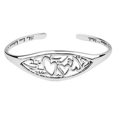 """Women's LOVE bracelets. Sterling Silver """"The Love Between A Mother and Daughter Knows No Distance"""" Heart Cuff Bracelet. Price $50,-"""
