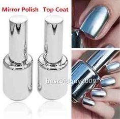 2pcs 15ml Silver Nail Polish Metallic Mirror Effect Metal Silver 15MLTOP Coat | eBay