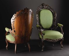 Two American Rococo Revival Rosewood Parlor Armchairs. Attributed to J. & J.W. Meeks, mid-19th century.