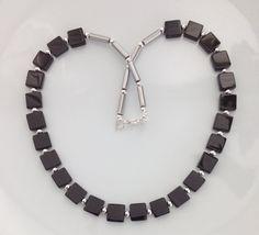 Black Onyx Necklace Black Onyx Squares by AwfyBrawJewellery