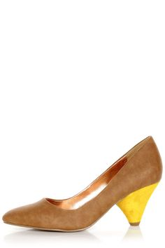 GoMax Zenith Brown and Yellow Kitten Heels Brown Things jenith 3 color brown Lulu Boutique, Yellow Wedding Shoes, Yellow Heels, Brown Heels, Walk This Way, Vegan Shoes, Leather Pumps, Vegan Leather, Kitten Heels