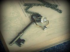 Marry Me ... necklace vintage skeleton heart key ring crystal glass swarovskiu crystal layering gyspsy boho chic chunky