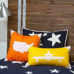 Make some darling Airplane and USA Map Pillow Covers (with an envelope closure) to toss on your little one's bed. Such a fun pop of color!