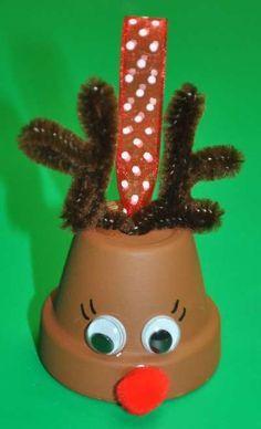 Dollar Store Crafts » Blog Archive » Make a Flower Pot Reindeer Bell Ornament