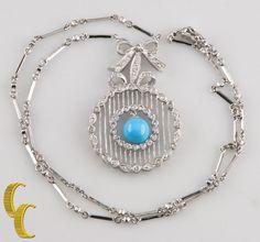 18k White Gold Diamond & Turquoise Bead Necklace w/ Diamond & Bar Chain #Unbranded #Pendant