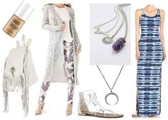 Blue printed dress, grey cardigan, white sandals, silver and purple necklaces