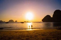 Sunset swim at Krabi -  Thailand  travel traveling backpacking wanderlust digitalnomad digital nomad travelcouple travellove aroundtheworld
