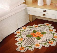 tapete em crochê com flores e folhas em crochê com receita http://www.crochecomreceita.com/search/label/arabescos