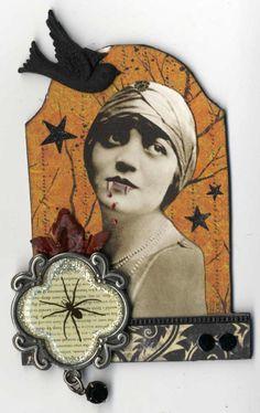 Artfully Musing: Fabulous Halloween Themed ATCs by Kris Dickinson