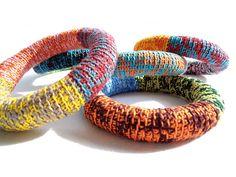 Crochet mix and blend colorful bangle bracelet in dark by bibatron, $24.00