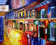 Bourbon Street Red Art Print by Diane Millsap. All prints are professionally printed, packaged, and shipped within 3 - 4 business days. City Painting, Painting Prints, Fine Art Prints, Mardi Gras, Fine Art Amerika, New Orleans Art, New Orleans French Quarter, Canvas Art, Canvas Prints