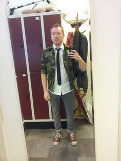 Second hand camo jacket and tie from #Fretex