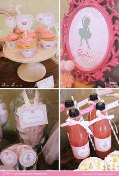 TUTU Birthday Party Printables Cupcake by SweetScarletDesigns