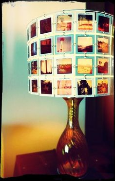 DIY lamp with your own photos: I absolutely love this! Would love to do a standing lamp with a big photo filled lamp shade!
