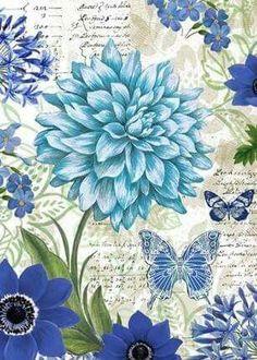 blue flowers and butterflies Decoupage Vintage, Decoupage Paper, Vintage Ephemera, Vintage Paper, Vintage Flowers, Blue Flowers, Arte Floral, Beautiful Butterflies, Vintage Images