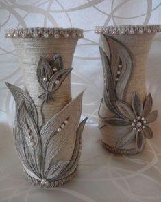 Burlap Twine Lilly Vases Jute Flowers, S - Diy Crafts - Marecipe Wine Bottle Art, Diy Bottle, Wine Bottle Crafts, Mason Jar Crafts, Jute Flowers, Fabric Flowers, Twine Crafts, Diy Crafts, Rope Art
