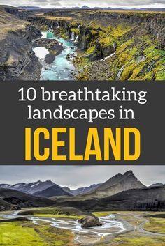10 breathtaking Iceland landscapes in Photos - canyons, icebergs, watefalls, volcanic sites... | Iceland Travel | Iceland Scenery