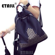 Free Shipping Waterproof Nylon Backpacks Bags Lady Nylon Rivet Studded Backpack School Bags for Teenage Girls Sac a Dos Femme