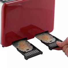 Buy Cookworks 4 Slice Toaster - Red | Toasters | Argos Black Toaster, Toasters, Cord Storage, Crumpets, Red Design, Brushed Stainless Steel, Argos, Keep It Cleaner, Kitchen Decor