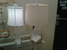 Cool glass lamp...the base opens up so you can fill it with your favorite little objects