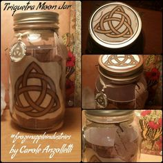 """Gratitude Jar """"Triquetra Moon Jar"""" Blessings Mason Jar Collection Beautiful Hand Inked Celtic Knotwork Charmed Design by Carole Anzolletti by ThePhantomQueensLab on Etsy"""