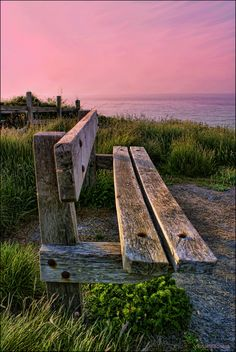 An old bench at the clifftop walk from Aberporth to Tresaith, Wales