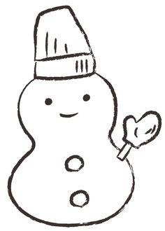 雪だるま イラスト モノクロ