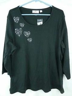 Quacker Factory Womens Black Tee Pearly Hearts 3 4 Sleeve Size XL | eBay