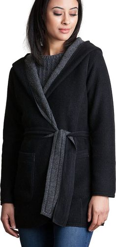 Overland Sheepskin Co Betty Reversible Hooded Wool-Blend Wrap Coat - best woman's fashion products designed to provide Wrap Coat, Wrap Style, Wool Blend, Hoods, Jackets For Women, Sew, Leather Jacket, Warm, Woman