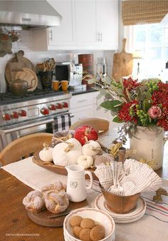 Fall Decorating In The Kitchen - French Garden House Decor, French Grain Sack, Kitchen, French Garden, Fall Decor, Beautiful Table, Bee Napkins, Home And Garden, Velvet Pumpkins