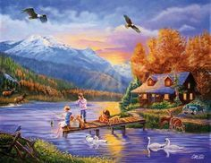 Cory Carlson Solid-Faced Canvas Print Wall Art Print entitled Grandpa's Cabin, None Cottage Wallpaper, Autumn Painting, Country Scenes, New Earth, Cross Paintings, Oil Paintings, Beautiful Paintings, Norman, Cross Stitch Patterns