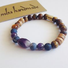 MEN'S NATURAL GEMSTONE FACET AMETHYST MATTE KYANITE & TIGER EYE BEADED BRACELET #MBAHandmade #Beaded