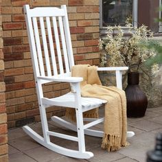 Take some time to rest and relax in this Rocking Chair Indoor Outdoor Patio Porch White Slat. Wood Images, Affordable Home Decor, Outdoor Settings, Acacia Wood, Patio Chairs, Wood Construction, Rocking Chair, Indoor Outdoor, Bench